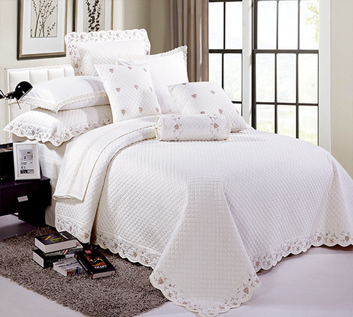 KOSMOS high quality white 100% cotton embroidery bedspread