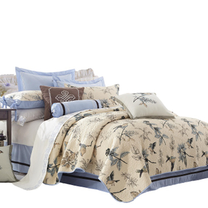 European style bird printed quilt 100% cotton polyester filling bedspread